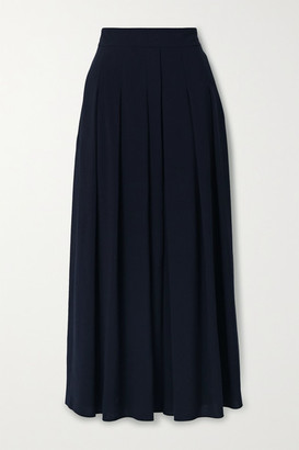 Akris Pleated Wool-crepe Midi Skirt - Midnight blue