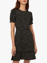 Warehouse Polka Dot Lace Trim Mini Dress, Black Pattern