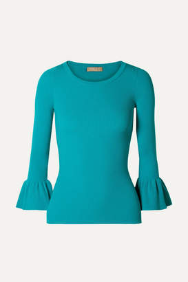 Michael Kors Ruffled Ribbed-knit Sweater - Turquoise