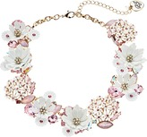 Betsey Johnson Flower Faceted Stone Cluster Frontal Necklace Necklace