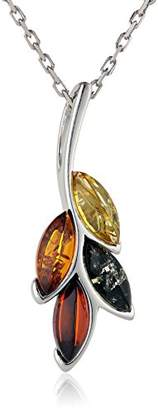 Rhodium Plated Sterling Silver Amber Pendant Necklace