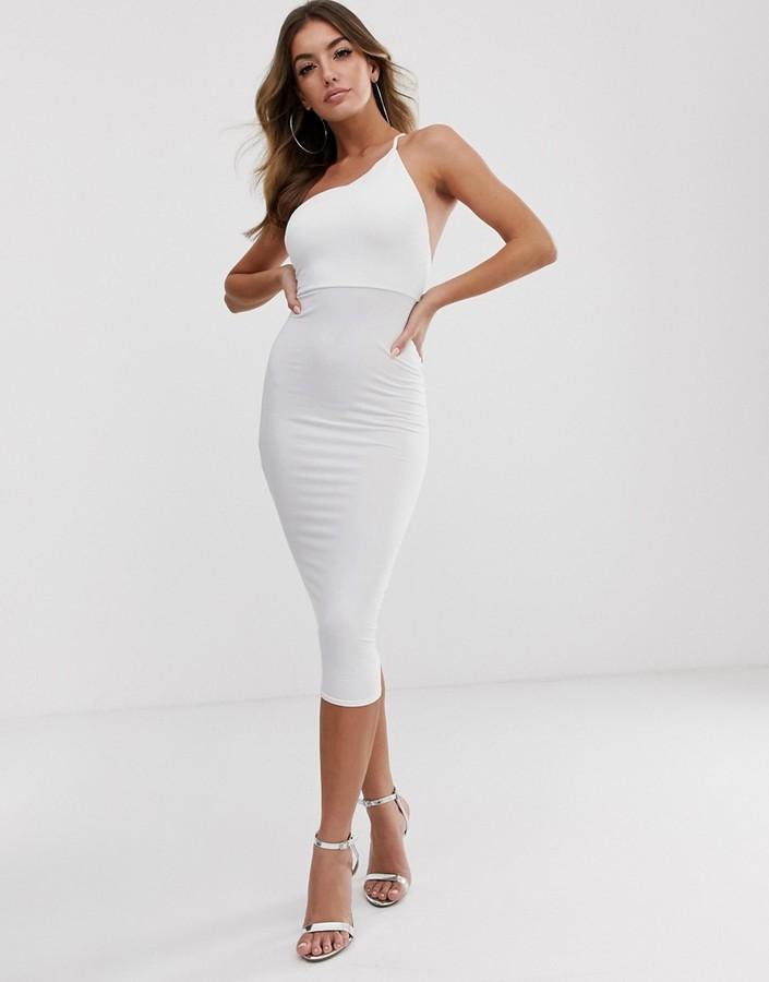 Asos Design DESIGN going out one shoulder bodycon midi dress