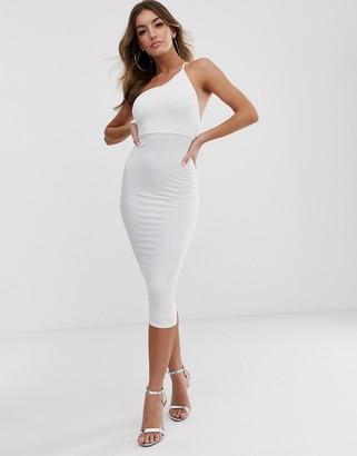 Asos Design DESIGN going out one shoulder bodycon midi dress-White