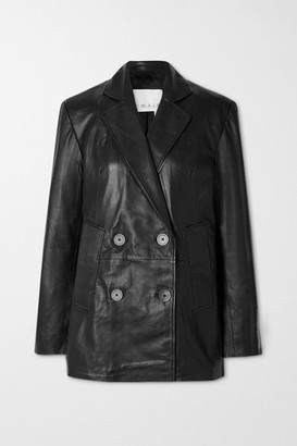 REMAIN Birger Christensen Debbie Double-breasted Leather Blazer - Black