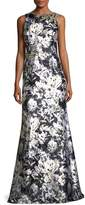 David Meister Metallic Floral-Print Satin Gown