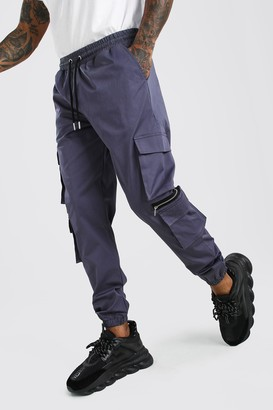 boohoo Mens Grey MAN Twill Multi Pocket Cargo Trouser With Zips, Grey