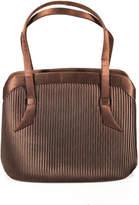 Neiman Marcus Dark Brown Satin Pleated Twist Lock Evening Handbag