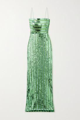 Galvan Stargaze Sequined Tulle Gown - Jade