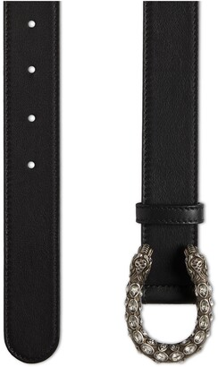 Gucci Leather belt with crystal Dionysus buckle