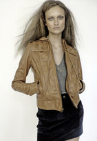 Chapman Leather Jacket with Woven Leather Placket in Black or Saddle Tan
