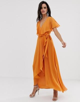 Asos Design DESIGN maxi dress with cape back and dipped hem-Orange