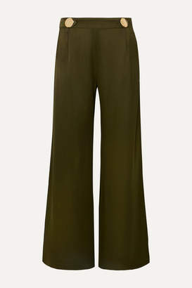 Mother of Pearl Bridget Button-embellished Satin Wide-leg Pants - Army green