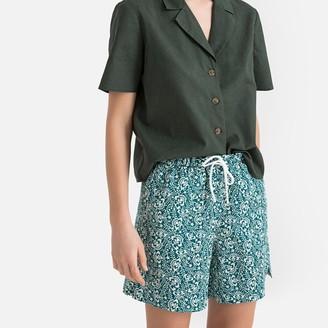 La Redoute Collections Linen/Cotton Printed Tie-Waist Shorts