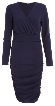 Dorothy Perkins Womens Quiz Navy Ruched Side Bodycon Dress