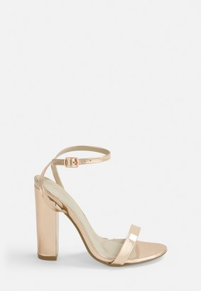 Missguided Rose Gold Block Heel Sandals