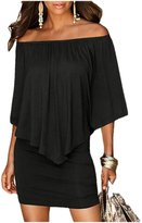 Designer97 Fashion Women's Sexy Strapless Off-the-shoulder Chest Irregular Flouncing Package Hip Dress Plus