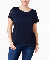 Charter Club Plus Size Scoop-Neck Lace Top, Only at Macy's