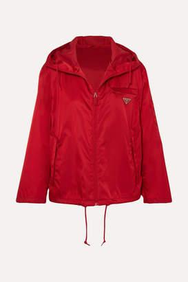 Prada Hooded Appliquéd Shell Jacket - Red