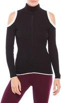 XOXO Cold Shoulder Color Block Sweater