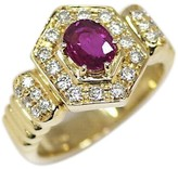 Lanvin 18k Yellow Gold Ruby Diamond Ring Size 5.75