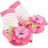 Mud Pie Pink Stripe Flower Socks - Infant