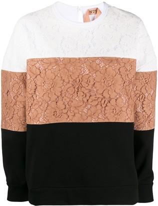 No.21 Lace Colour-Block Sweatshirt