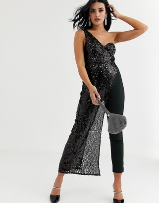 Love Triangle one shoulder jumpsuit with draped front in black glitter
