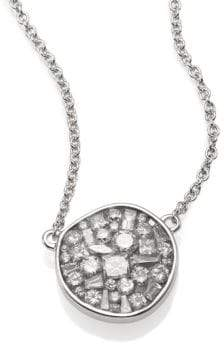 Ice Diamond Pleve Ice Diamond& 18K White Gold Pebble Pendant Necklace