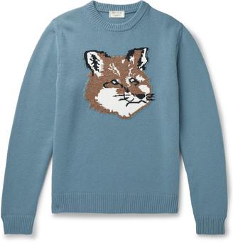 MAISON KITSUNÉ Logo-Intarsia Wool Sweater