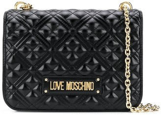 Love Moschino Quilted Logo Plaque Shoulder Bag