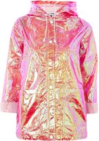 Topshop Two-Tone Metallic Mac Raincoat