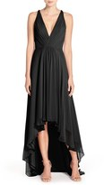 Women's Monique Lhuillier Bridesmaids Deep V-Neck Chiffon High/low Gown