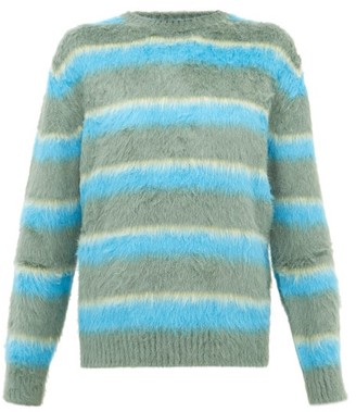 Marc Jacobs Runway - Jacquard-stripe Carded-silk Sweater - Womens - Green Multi