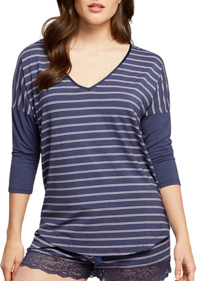 Fleurt Striped V-Neck Drop-Shoulder Lounge Top