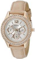 Fossil Women's ES3816 Stella Multifunction Leather Watch - Light Brown