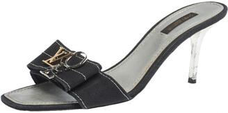 Louis Vuitton Black Canvas Love Bow Slide Sandals Size 38.5