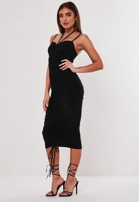 Missguided Jordan Lipscombe X Black Ruched Slinky Midi Dress