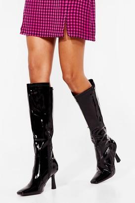 Nasty Gal Womens Walk the Shine Patent Knee High Boots - Black