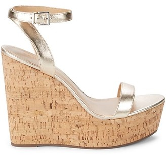 Schutz Platina Leather Wedge Sandals