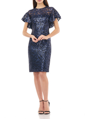 Carmen Marc Valvo Sequin Jewel-Neck Flutter-Sleeve Sheath Dress