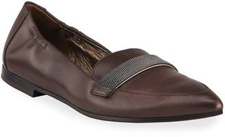 Brunello Cucinelli Monili Leather Pointed Ballet Flats
