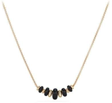 David Yurman Rio Rondelle Short Station Necklace With Black Agate In