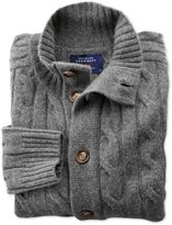 Charles Tyrwhitt Grey Lambswool Cable Knit Cardigan Size XL
