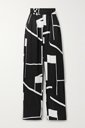 The Line By K Bettina Printed Twill Wide-leg Pants - Black