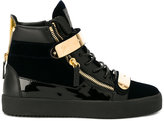 Giuseppe Zanotti Design London hi-top sneakers - men - Leather/Patent Leather/Metal (Other)/rubber - 39
