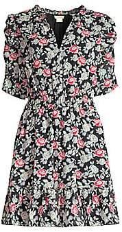 Shoshanna Women's Jodelle Floral Puff-Sleeve Dress - Size 0