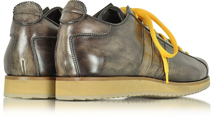 Thumbnail for your product : Forzieri Italian Handcrafted Coffee Washed Leather Sneaker