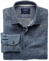 Charles Tyrwhitt Slim Fit Slub Cotton Blue and White Casual Shirt Single Cuff Size XS