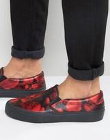 Asos Slip On Sneakers In Red Floral