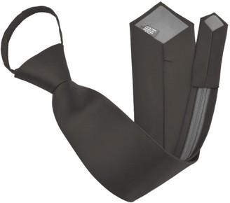 """Moda Di Raza Zipper Ties For Men Zip Neckties Woven Microfiber Satin Silk Finish Neck Tie - Black - 17"""""""